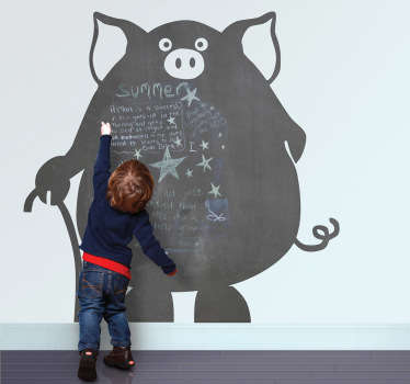 Creative and original kids sticker of a pig but also a blackboard. Brilliant decal to decorate your home!