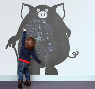 Autocolante porco em quadro preto