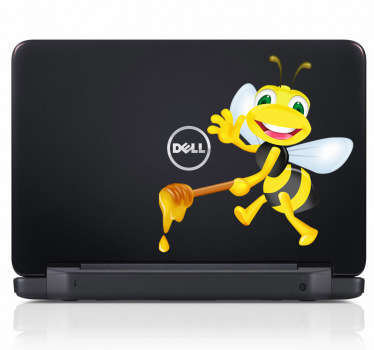 Laptop Stickers -  Happy Bee theme sticker. Great for customising your laptop. *Sticker sizes may vary slightly depending on the device.