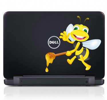 Sticker laptop bij honing