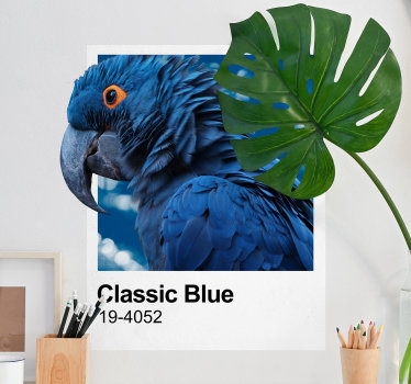 Classic blue wall sticker design of a bird that is designed in beautiful background to decorate any space in the home or any place your desire.