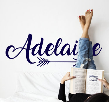 Personalizable name wall decal designed with an arrow that has a name on it. With your name choice you can have the design any colour or size choice.