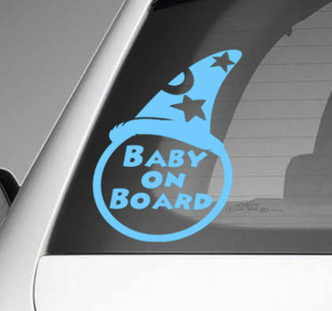 Decorative baby on board car decal designed with a baby hat and text.'' baby on board.. Available in different sizes and colours.