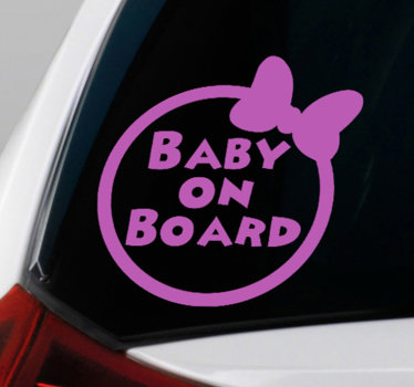 Decorative baby on board sticker designed on a round surface with a baby hair ribbon by it side. It is available i different colour option.