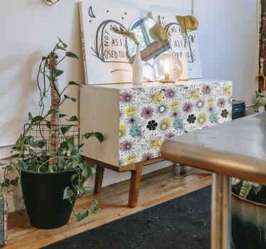 Vinilo para muebles fácil de aplicar con el diseño de flores ornamentales con un precioso diseño. Puedes disfrutar del diseño en la medida que necesites.