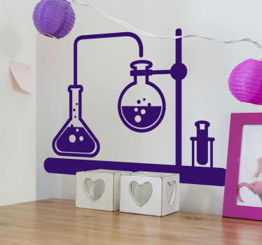 Original and beautiful wall decal of laboratory science apparatus for chemistry design to decorate any flat surface. Available in different colours.