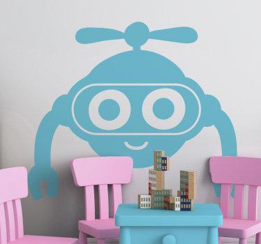 Un vinilo para niños de juguete de robot con cara bonita para embellecer el espacio de cualquier niño. Disponible en diferentes colores y fácil de aplicar.