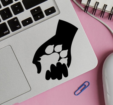 A dog lover laptop skin sticker design that has the hand of a human with a dog foot print on it. Easy to apply and available in different colours.