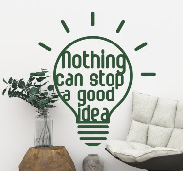 Home wall sticker design created with light bulb with text on it that says '' nothing can stop good idea''. Available in different colours.