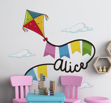 Customisable name wall sticker designed with kites and cloud. An ideal design for kids room space and you can chose the size you prefer.