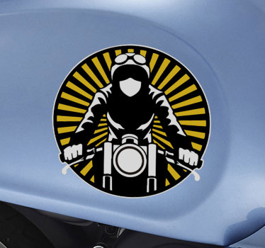A vintage motorcycle decal design of a motorcyclist riding on a motorbike. A colorful design  ideal for all flat surfaces.