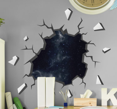 A 3D visual effect wall decal of a sky appearance at night. This pretty and graphic design will suit well for all space in the home.