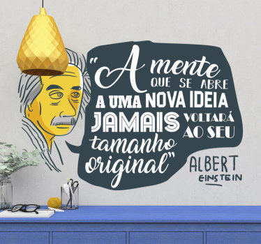 vinil autocolante decorativo de frases célebres de uma famosa citação de Albert Einstein ideal para decorar a sua casa ou empresa de forma original.