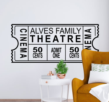 Decorative wall decal of a cinema wall sticker design of a family entrance ticket for a movie. It is customisable with a family name.