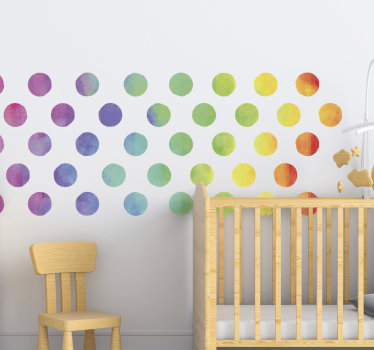 Decorative wall decal for kids bedroom created with ornamental texture of rainbow dots in multi colour. Easy to apply and you can chose the size.