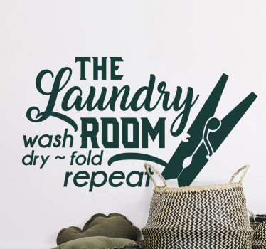 Decorate the laundry space with this wall vinyl decal for laundry with text '' the laundry room, wash , dry and repeat''.