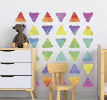 Decorative wall sticker pf geometric triangles in multi colour to beautify the wall surface in the home. An ideal design for the bedroom.