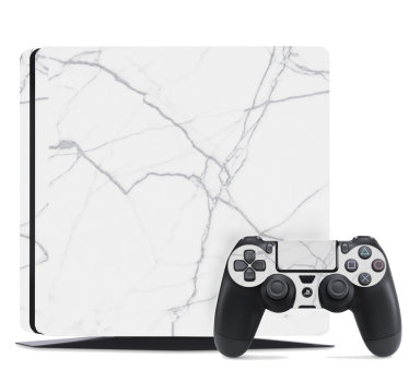 A ps4 skin wrap vinyl sticker designed with a white marble texture to decorate the surface of your game controller and it is in different sizes.