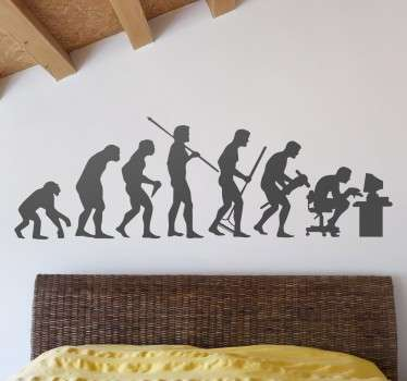 A ridiculously funny design illustrating the full timeline of human evolution. A superb decal from our collection of funny wall stickers.