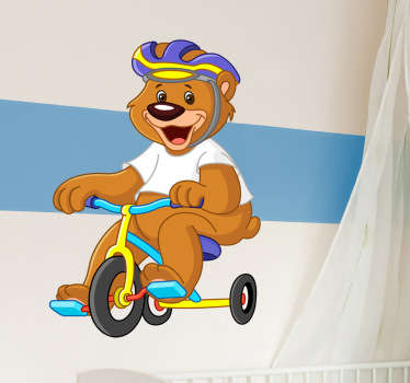 Kids Wall Stickers-Fun and playful illustration of a bear riding a tricycle. Cheerful design ideal for decorating areas for children.