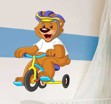 Naklejka miś na rowerze