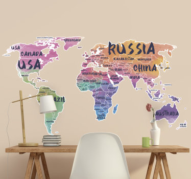 Decorative world map decal with the names of most continent on it . An ideal design for any wall space and it is available n different sizes.