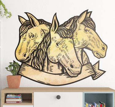 Best quality vinyl design of 3 horse faces in beautiful appearance to decorate the wall space in the home. Easy to apply to any flat surface.