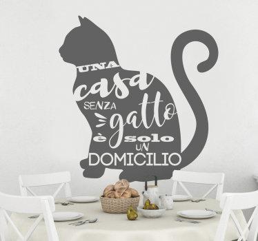 Adesivo decorativo da parete per la casa in vinile con il design di un gatto seduto bellissimo per il soggiorno, la camera da letto e lo spazio da pranzo.
