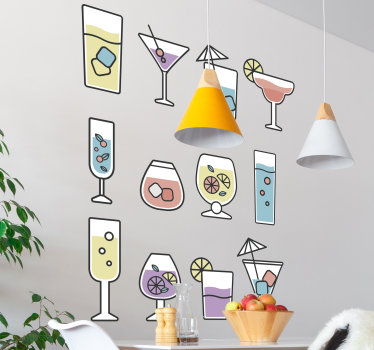 Decorative kitchen wall decal created with different cocktails drinks that can be applied in any manner and position. Easy to apply adhesive vinyl.