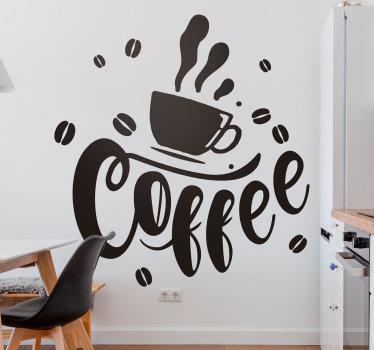 Diseño decorativo de vinilo pared de cocina creado con un tema de café. El diseño es de una bebida de taza de café con texto en él. Disponible en diferentes colores.