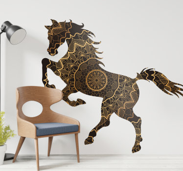Home wall decal design of a horse created in a mandala patterned style and it is suitable for any wall space in the home. Easy to apply .