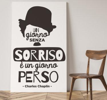 sticker in vinile decorativo da parete creata con citazione motivazionale ispirata a charles chaplin. Facile da applicare e disponibile in diversi colori.