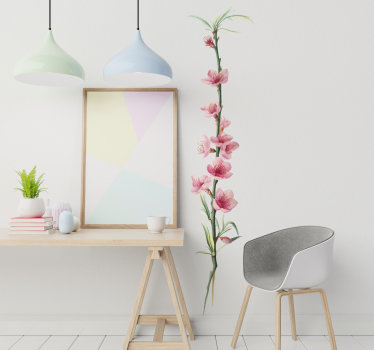 El vinilo pared decorativo de una planta de flor de durazno creada en un hermoso color ideal para cualquier pared y superficie plana.
