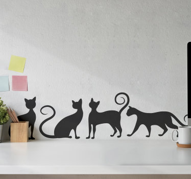 Buy our kid wall sticker of cat playing . The design is a silhouette style and you can option to buy it in the colour of your choice.