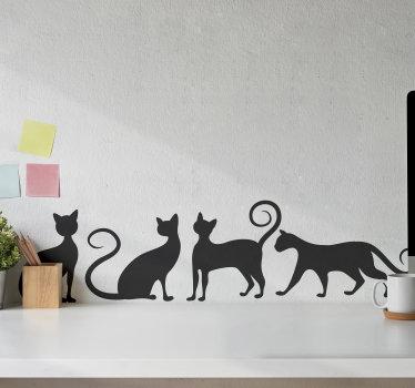 Acheter notre stickers muraux enfant de chat jouant. Le design est un style silhouette et vous pouvez l'acheter dans la couleur de votre choix.