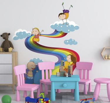 Vinilo decorativo de arcoiris con aspecto de nube con niños jugando para embellecer el espacio para niños. Fácil de colocar