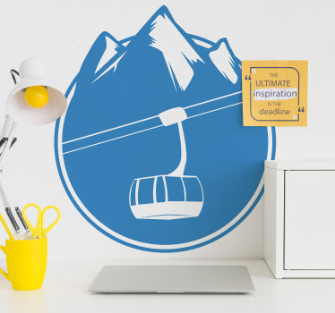 Buy our decorative sport wall decal design of a ski lift and mountain. It is available in different colours and sizes. Easy to apply.