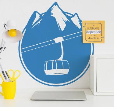 Kjøp vår dekorative sport veggoverføringsdesign av skiheis og fjell. Den er tilgjengelig i forskjellige farger og størrelser. Lett å påføre.