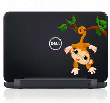 Fun monkey decal on a tree for your laptop. This brilliant vinyl from our monkey wall stickers is ideal to decorate your laptop!