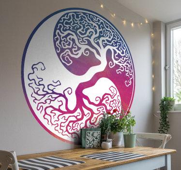 Diseño de vinilo de pared decorativo de árbol de la vida ying yang creado en un hermoso estilo colorido sobre superficie redonda. Fácil de colocar