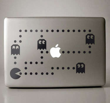 Sticker decorativo inspirado no legendário jogo dos anos 80, Pacman, ideal para personalizar o seu MacBook.