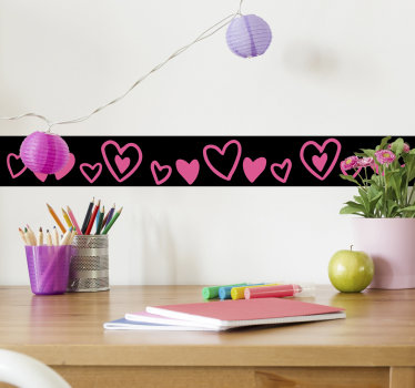 Decorative wall boarder sticker filled with hearts shape in colorful style. Buy the design to created a well defined wall surface with amazing touch.