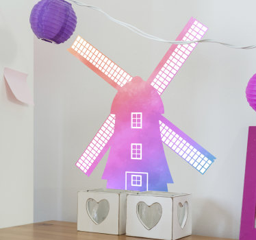 An illustration wall decal of a windmill for children . A design created in a multicolored style appealing for kids.  Easy to apply adhesive vinyl.