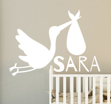 A decorative wall sticker for children designed with a stork and a name that is personalisable with what you want on it. Easy to apply.