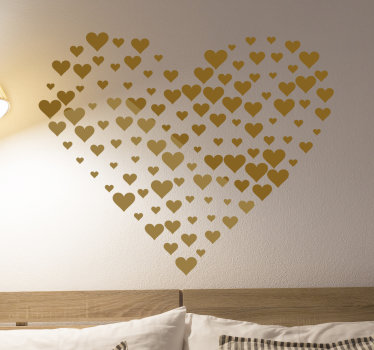 An original home wall sticker designed with a heart and available in different colour and size options to decorate any flat surface space of choice.