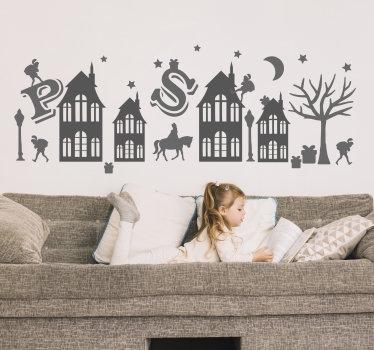 Eenvoudig aan te brengen decoratieve muurzelfklevende sinterklaassticker voor kinderen met het ontwerp van huizen met aas en piet erop.