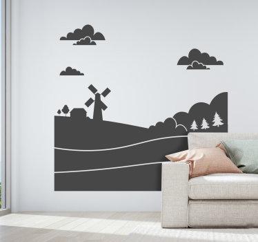 Decoratieve muursticker ontwerp van een vredig natuurlijk thema om elke muurruimte te verfraaien in de kleuroptie van verlangen. Eenvoudig aan te brengen zelfklevend vinyl.