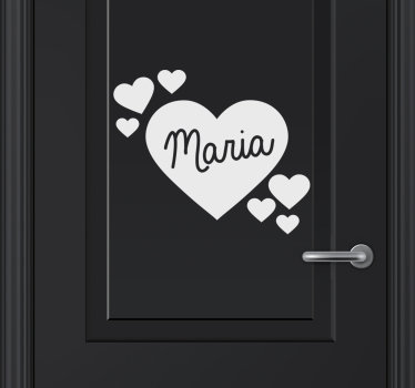 Personalizable name door decal designed with heart shapes and name on it. It comes in different colour and size options to fit to range of space.