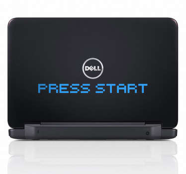 Press Start Laptop Aufkleber