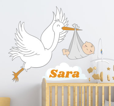 Personalize a baby name on our decorative wall decal  design of a stork carrying a baby on it beak with the name of the child on it.